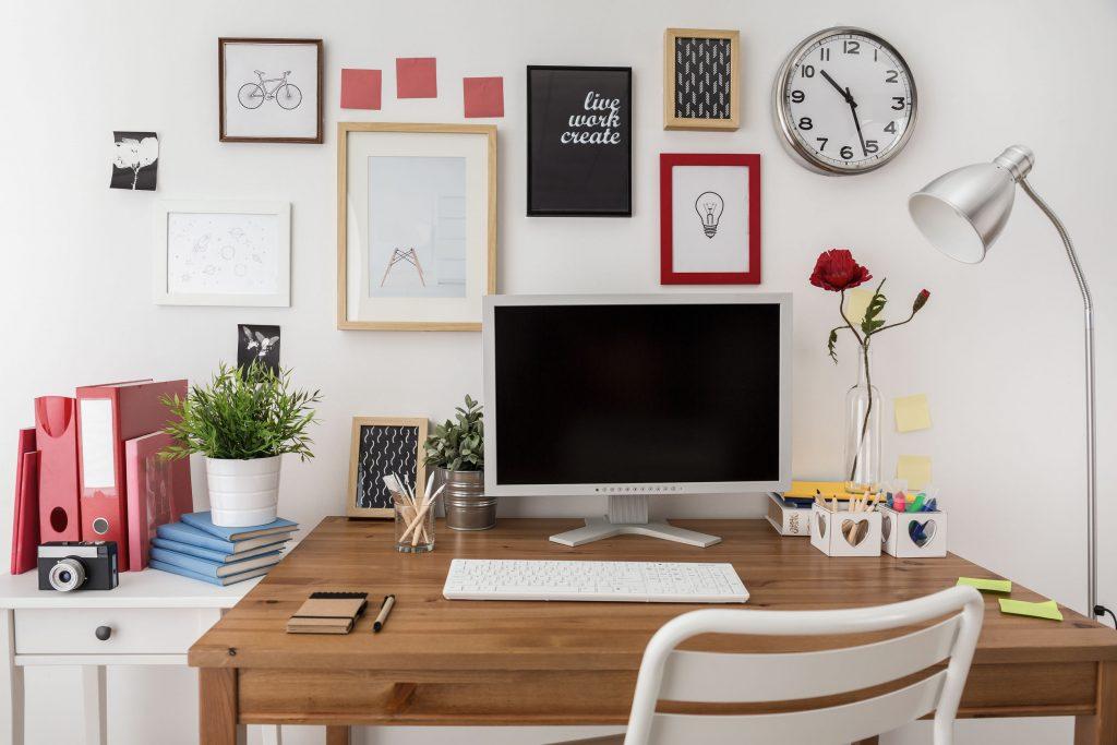 Designed workspace with desktop computer